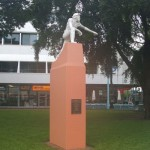 Inauguarl statue of Stuart in Raintree Park, Smith St, Darwin, Northern Territory.