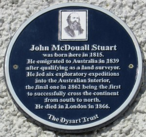 Plaque on wall of Stuart's birthplace, Dysart, Scotland